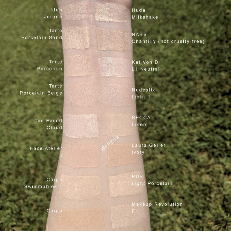 Pale Foundation Swatches