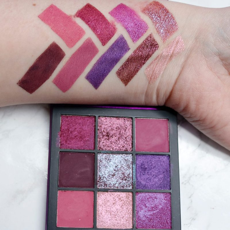 Huda Beauty Amethyst Obsessions Palette Swatches on Fair Skin