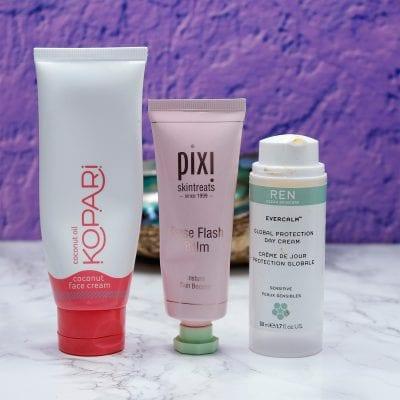 Kopari Coconut Face Cream, Pixi Rose Flash Balm, Ren Evercalm Day Cream are all three excellent for dry, sensitive skin