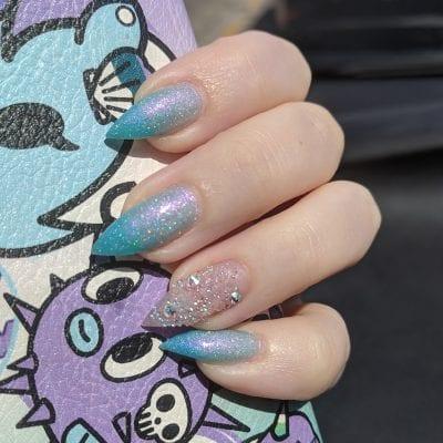 Live Love Polish Shark Spark mani on stiletto nails