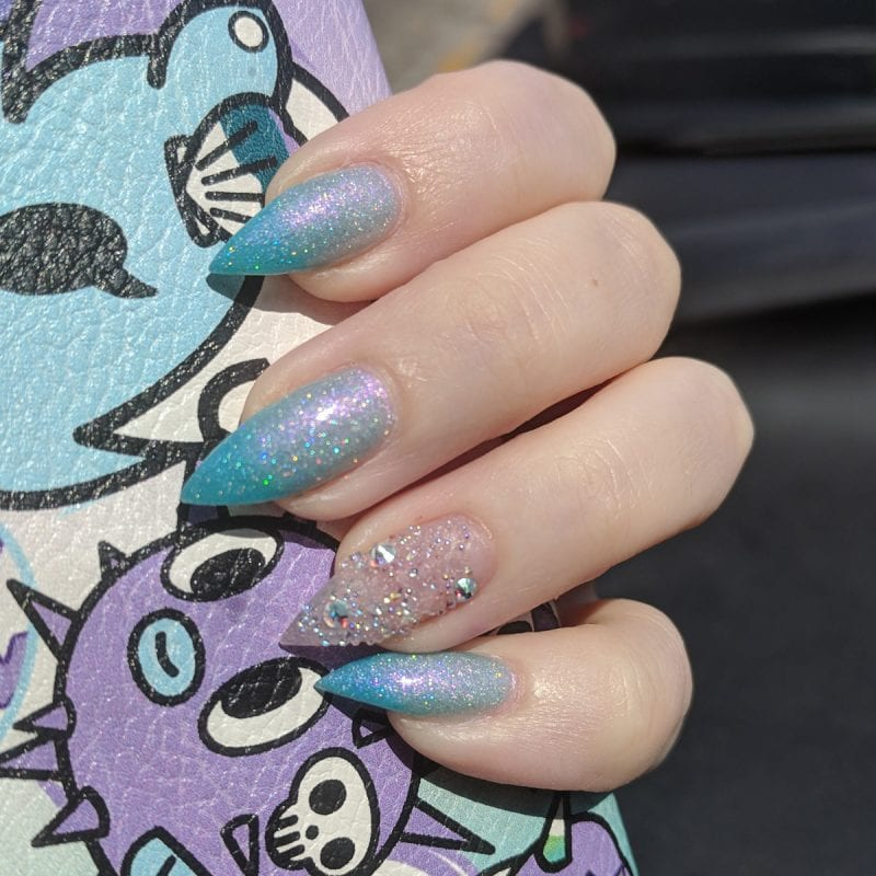 Live Love Polish Shark Spark mani on stiletto nails