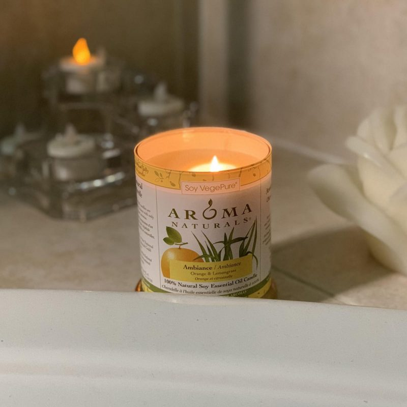 How to Have a Home Spa Day During the Holidays - Aroma Naturals Ambiance Orange & Lemongrass candle