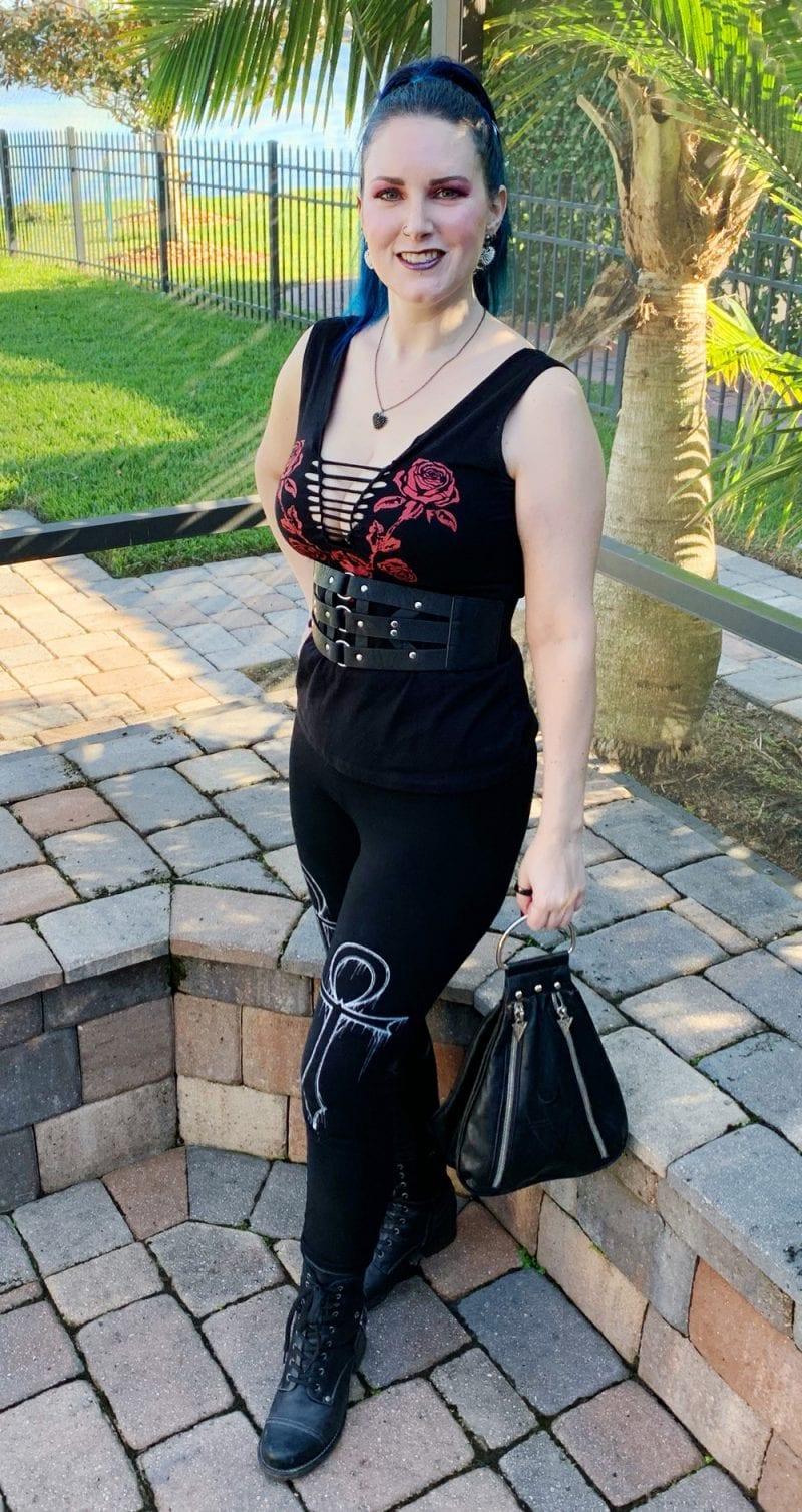 Wearing Demi Loom Nashville Rose Slashed Top