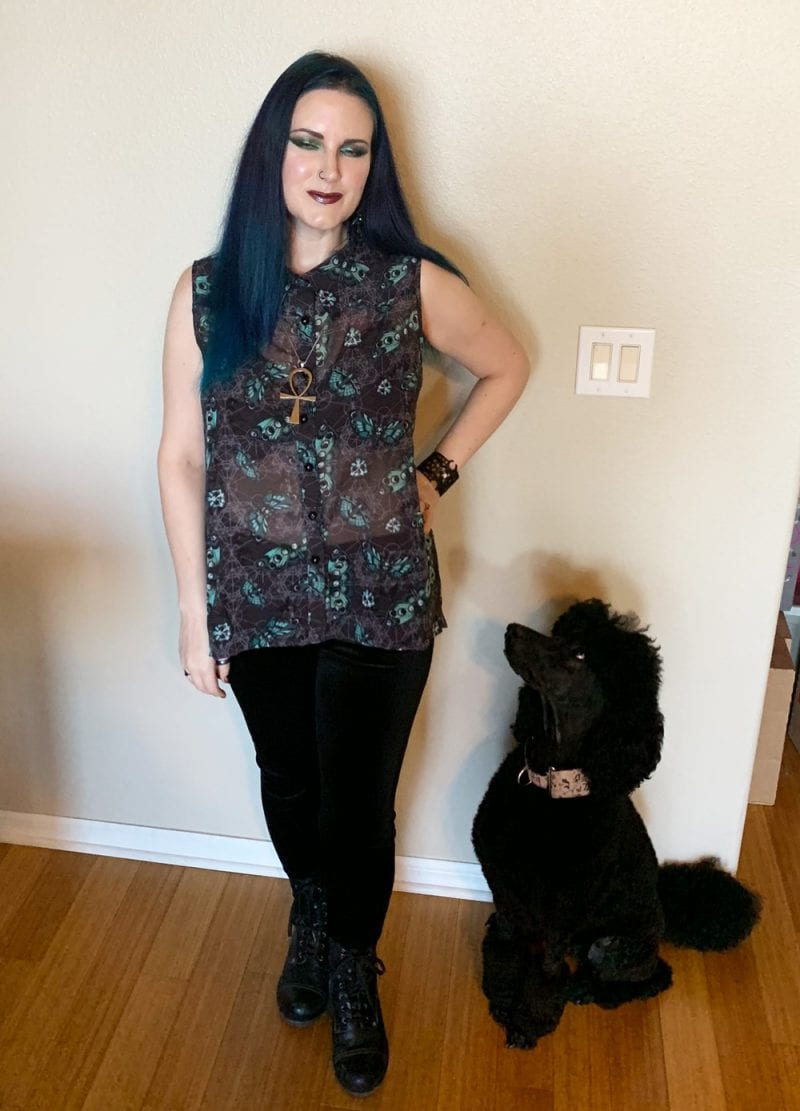 Modern Goth Witch with Poodle Dog