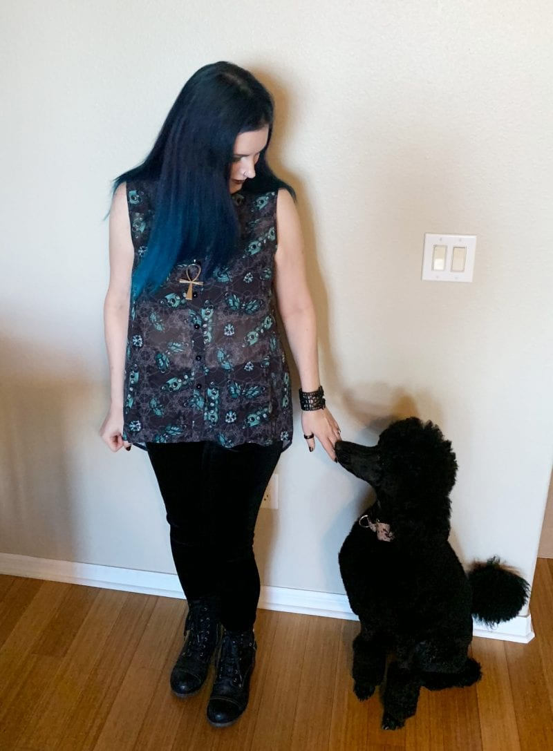 Courtney with her standard poodle puppy Nyx