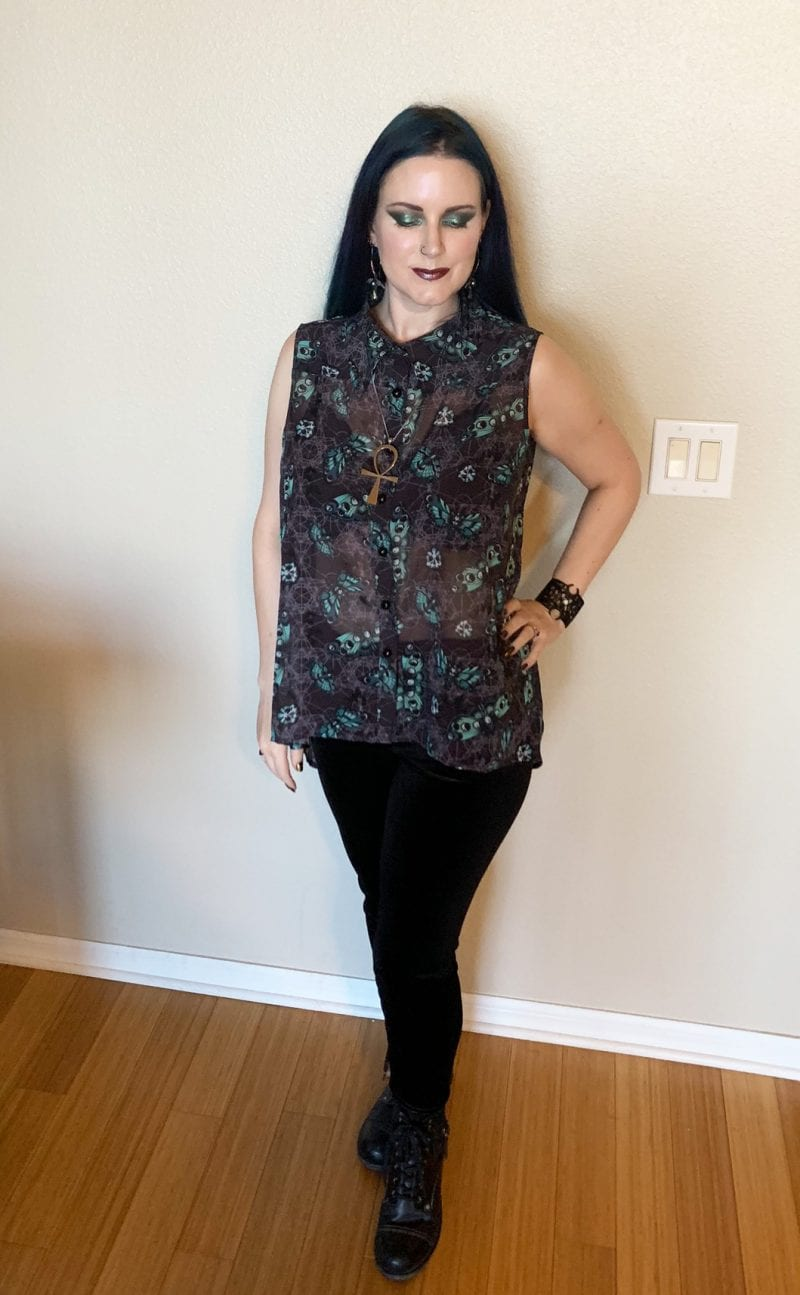 Sheer Skull Butterfly Blouse