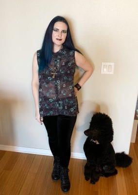 Gothic Fashion Inspiration Dark Grey Sheer Sleeveless Blouse