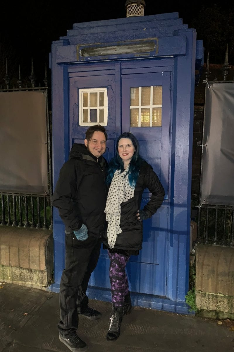 Ray and Courtney at the Tardis door