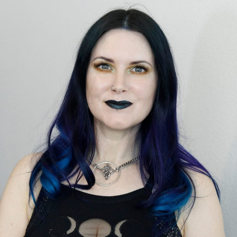 Courtney is wearing a full face of Black Moon Cosmetics makeup