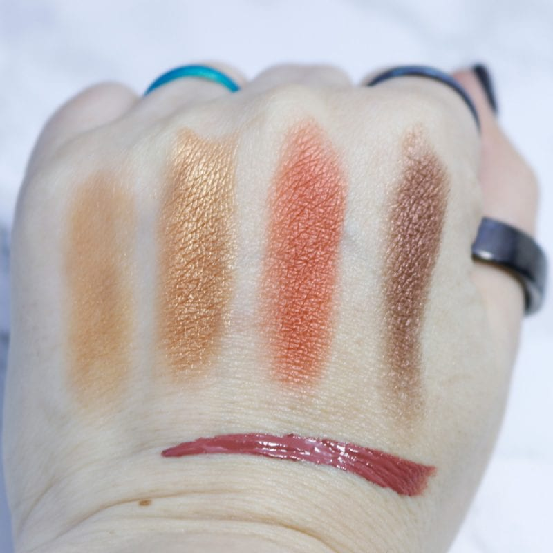 Beauty Bakerie Coffee & Cocoa Palette swatches plus Syruptitous Lip Whip swatch