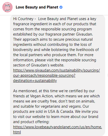 Love Beauty and Planet's Animal Testing Policy