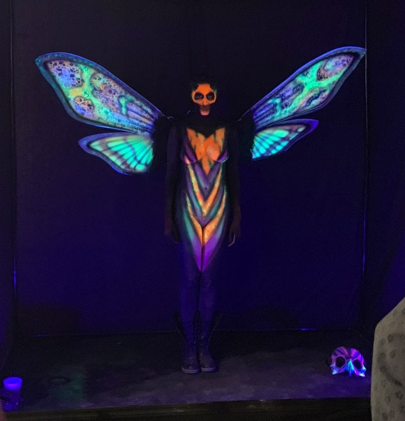 Blacklight Reactive Body Paint Performer