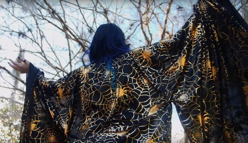 Spellbound Stitches Gold Spiderweb Kimono