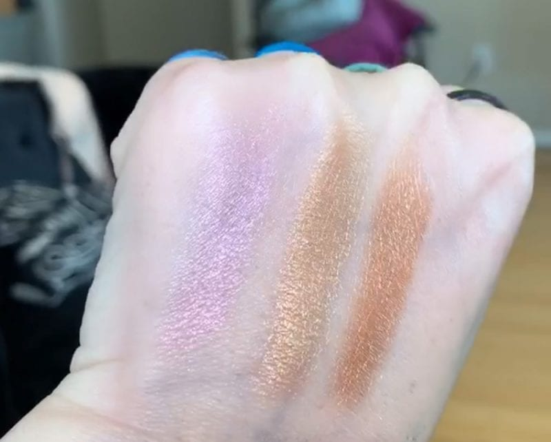 Urban Decay Mother of Dragons Highlight Palette Swatches on Fair Skin