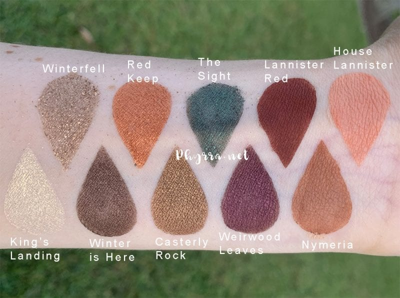 Urban Decay Game of Thrones Eyeshadow Palette swatches