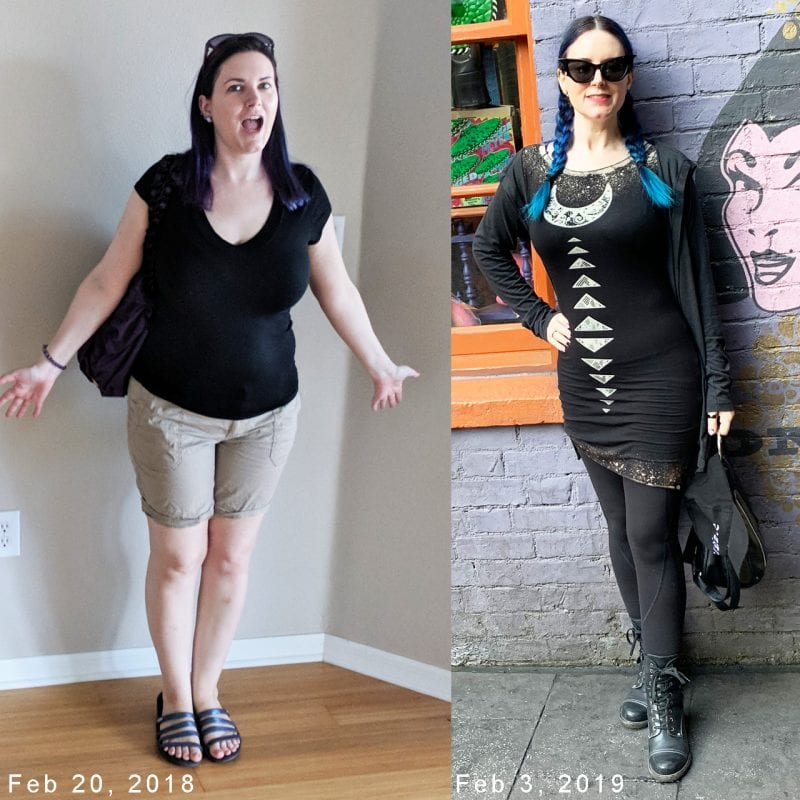 Courtney at size 12 and size 4, 1 year apart