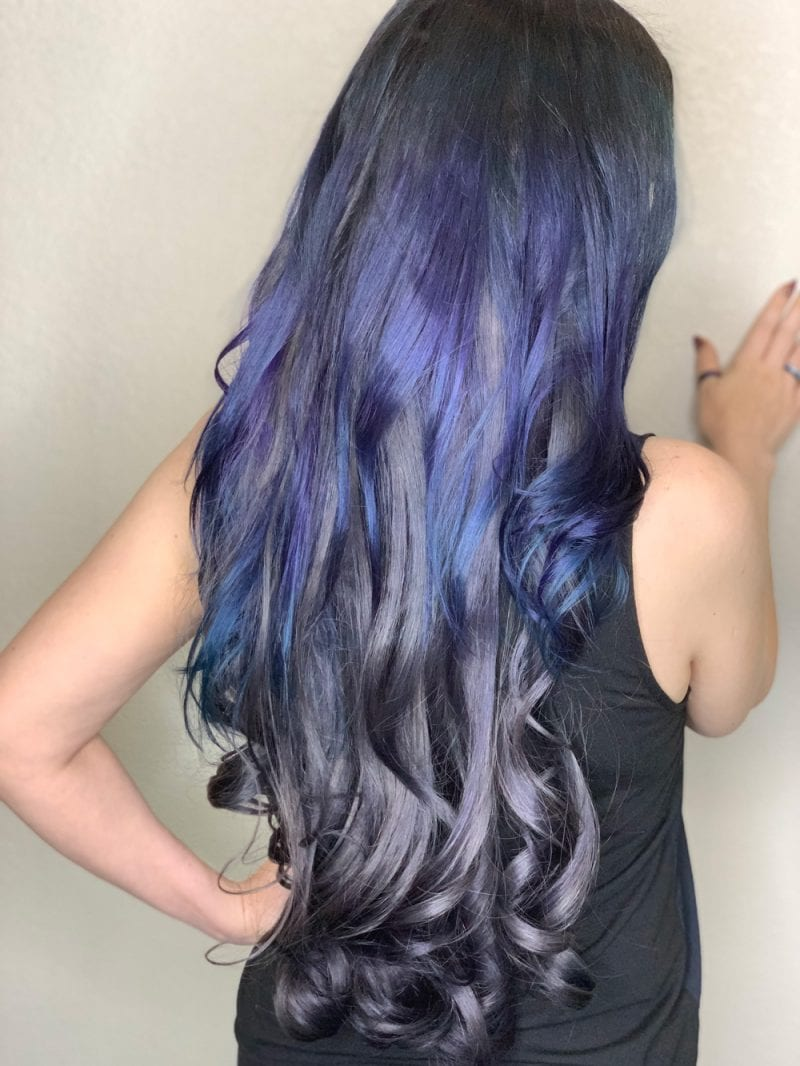 Blurple and gunmetal grey hair