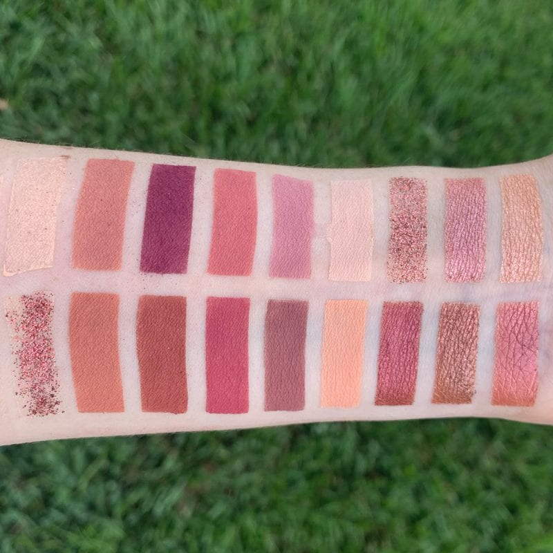 Huda Beauty the New Nude Palette Swatched on fair skin