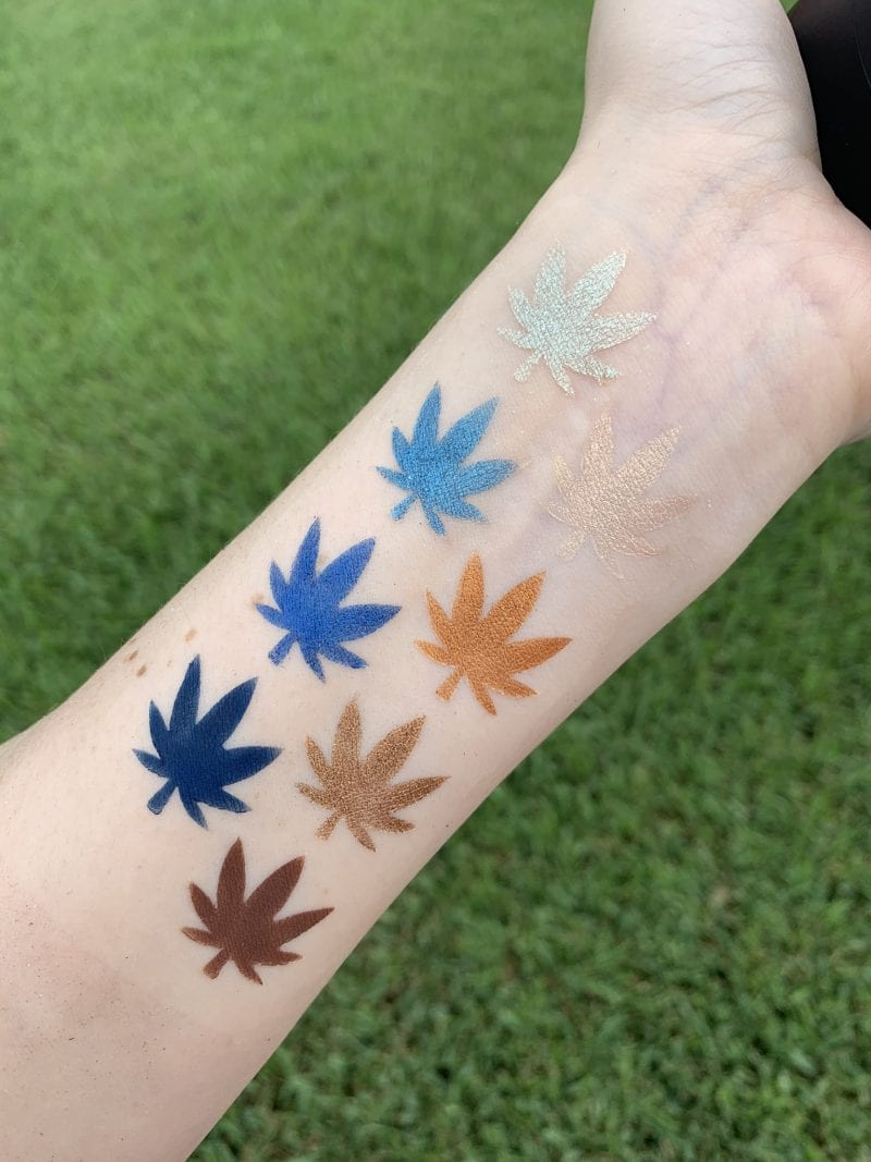 Melt Cosmetics Blue Print Stack Swatches on Fair Skin
