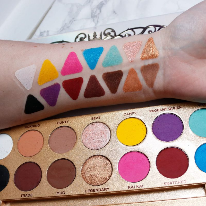 Lunar Beauty Life's a Drag Palette swatches on fair skin