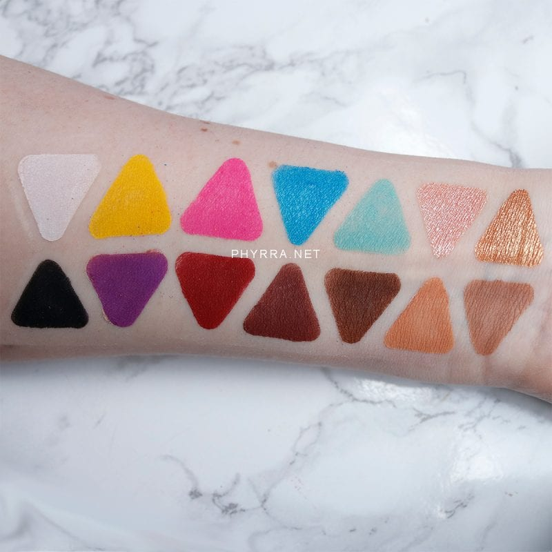 Lunar Beauty Life's a Drag Palette swatches on light skin