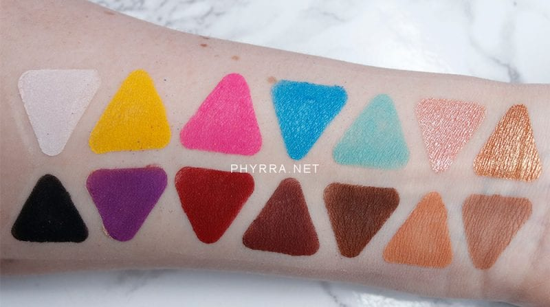 Lunar Beauty Life's a Drag Palette swatches on pale skin