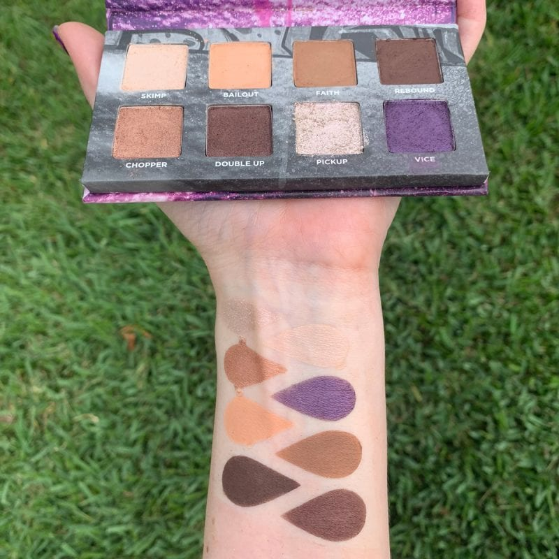 Urban Decay On the Run Bailout Mini Palette Review swatched on Light Skin