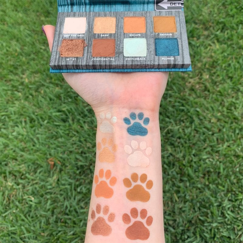 Urban Decay On the Run Detour Mini Palette swatched on pale skin