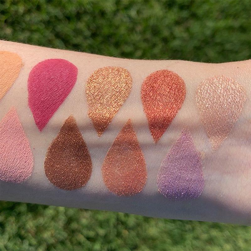 Viseart Rosé EDIT Eyeshadow Palette swatches on pale skin