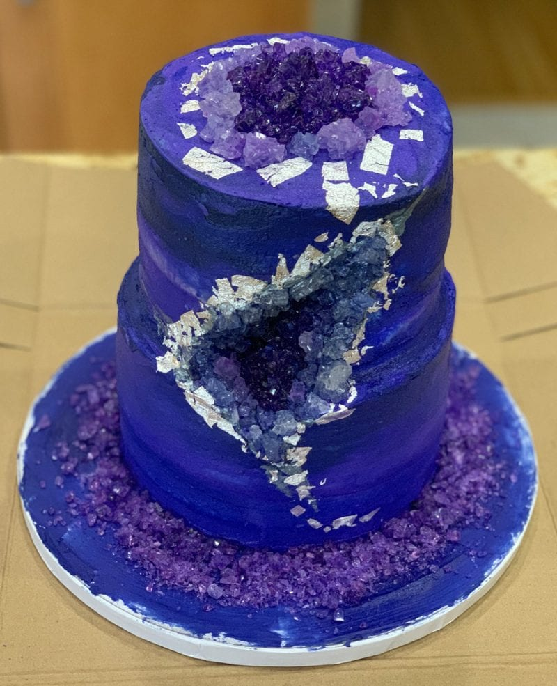 Amethyst Geode Cake with cherry filling and buttercream icing
