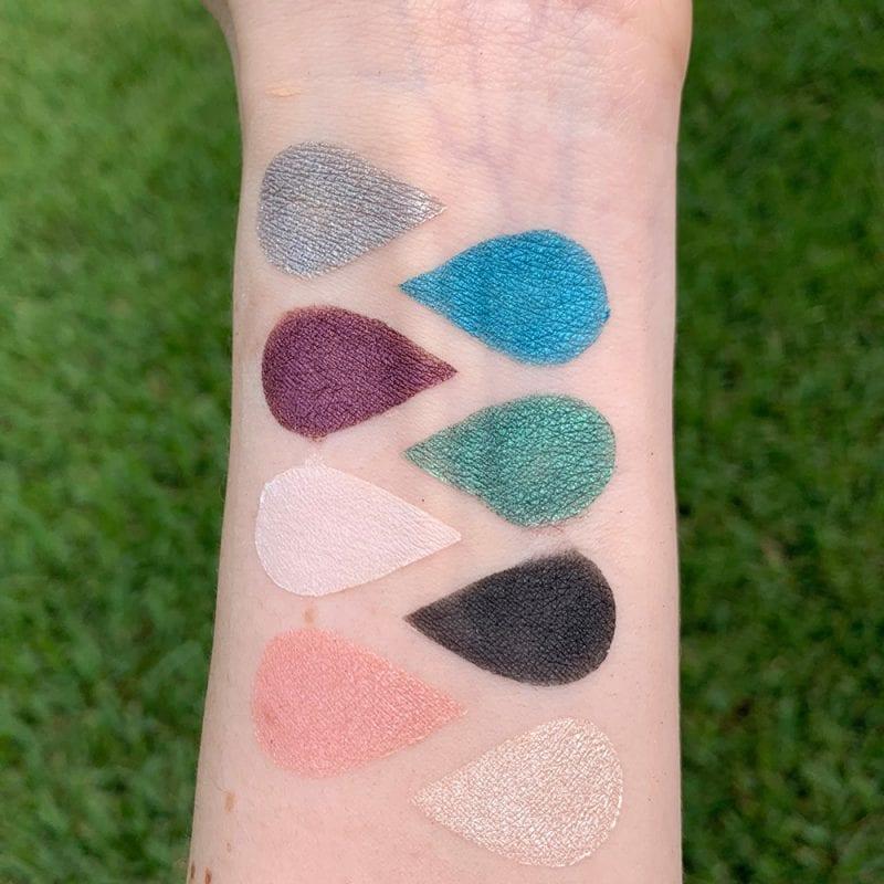 Elle + Mia Mermaid Goddess Palette swatches on fair skin
