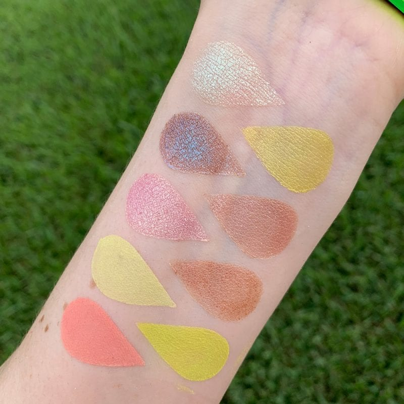 Huda Beauty Neon Obsessions Green palette swatches on Pale Skin