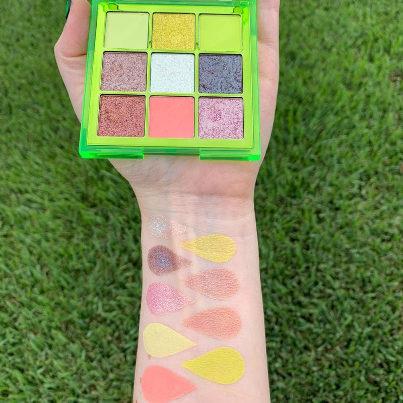 Huda Beauty Neon Obsessions Green palette swatches on Fair Skin