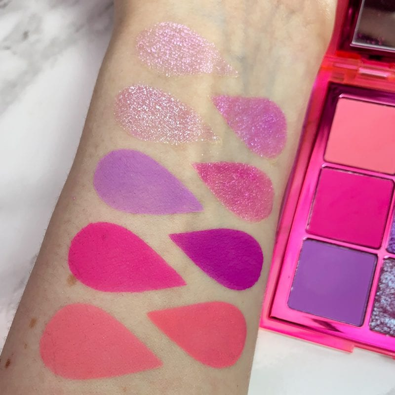 Huda Beauty Neon Obsessions Pink Palette swatches on fair skin