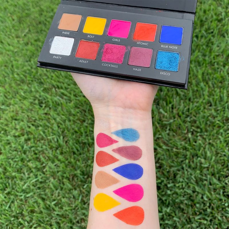 Lorac Neon Lights Palette Swatches on Pale Skin