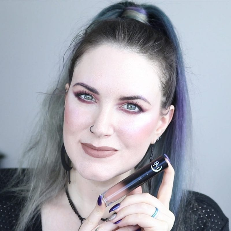 Black Moon Gloom Liquid Lipstick swatched on fair skin