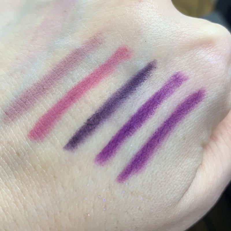 Pretty Purple Lip Pencils Swatches