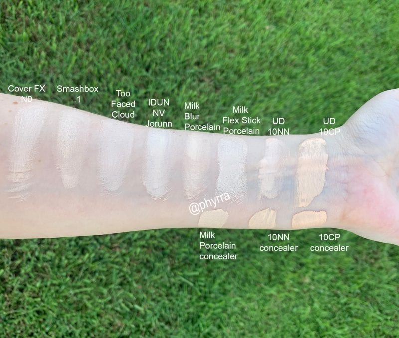 Urban Decay Stay Naked Foundation Swatches in 10NN & 10CP Comparison