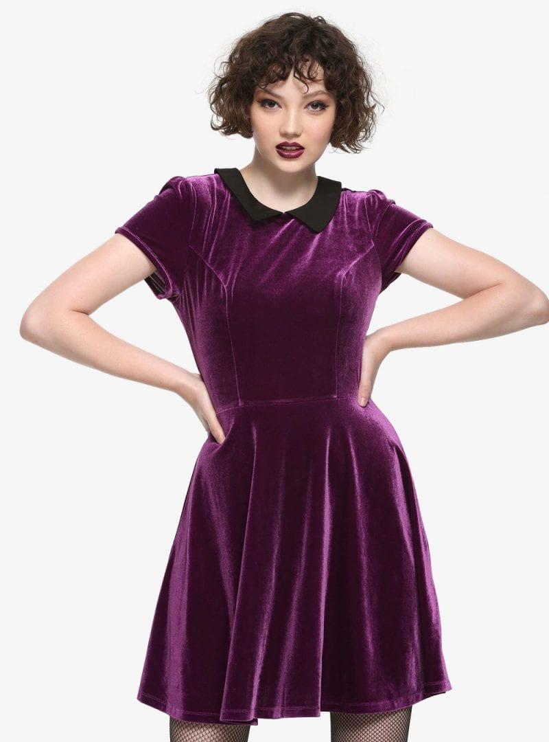 Purple Velvet Black Collar Dress
