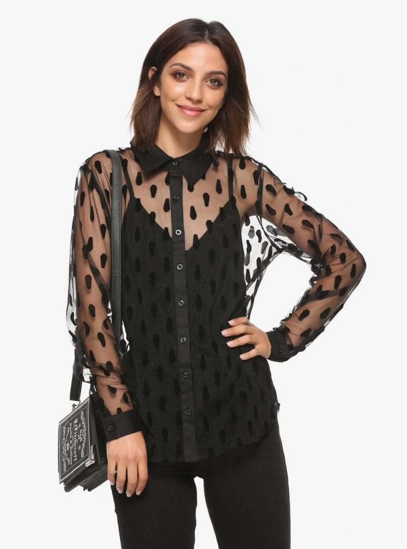 Black Coffin Flocked Sheer Long-Sleeve Button-Up Top