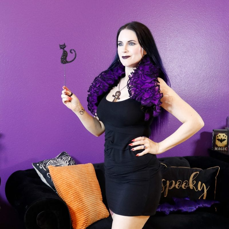 Purple Shrug paired with the perfect black dress for fall