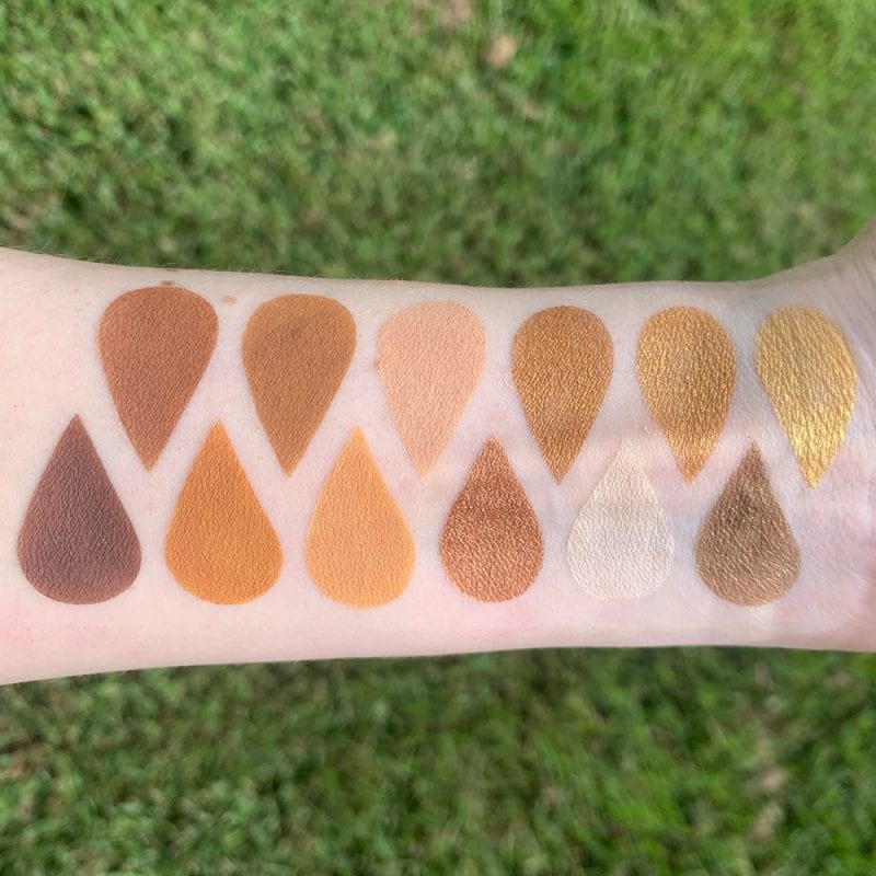 Urban Decay Naked Honey Palette swatches on fair skin