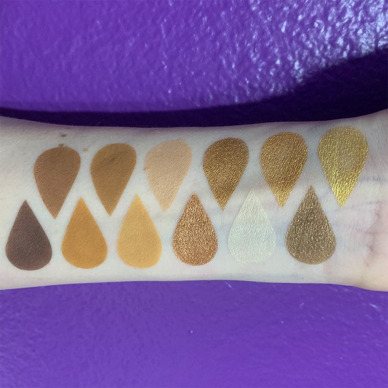 Urban Decay Naked Honey Palette swatches on pale skin