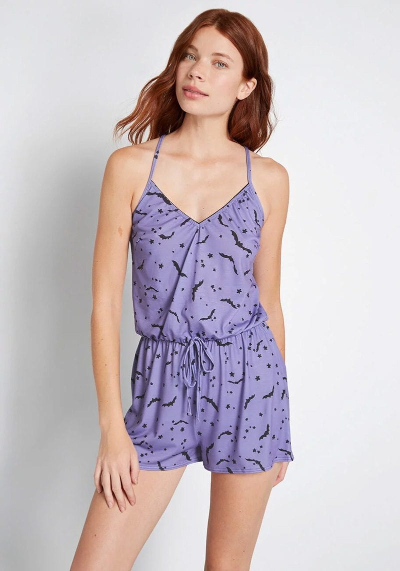 Purple Bats Sleep Romper