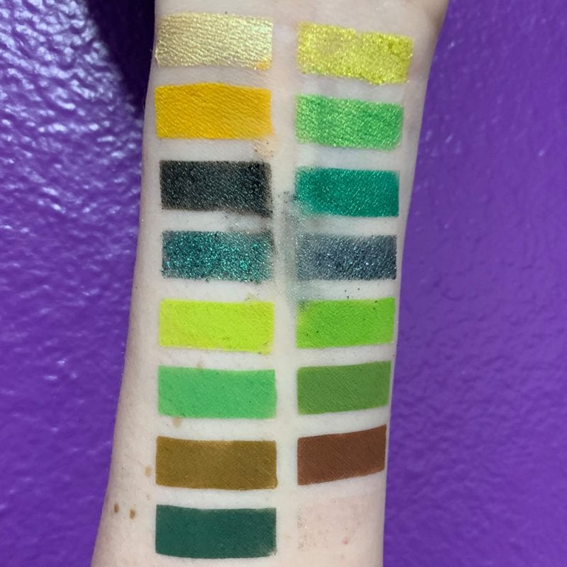 Moonslice Beauty Emerald Moon Palette Pale Skin Swatches