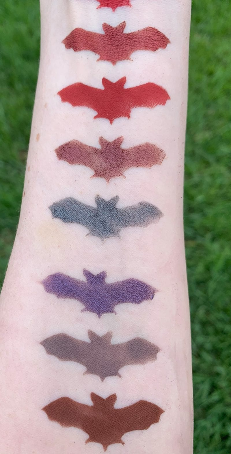 Baby Bat Beauty Nox Palette swatches on Fair Skin