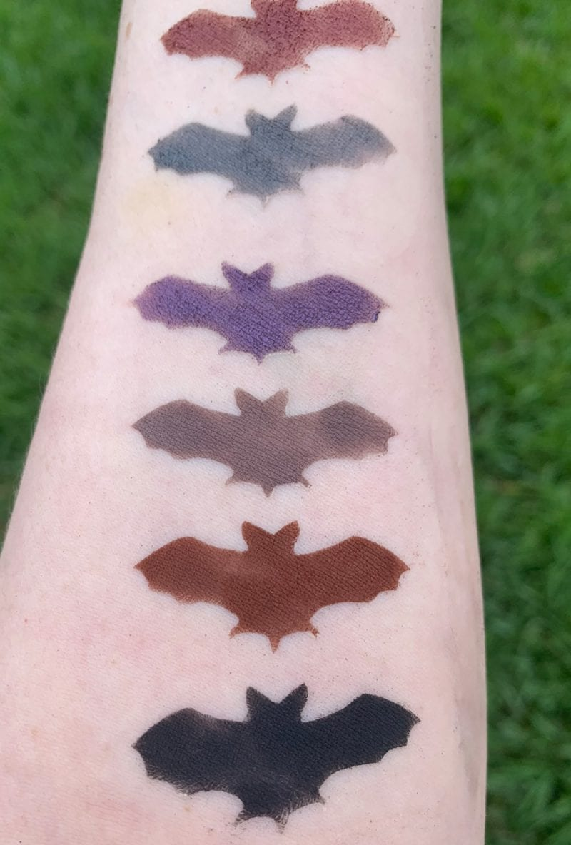 Baby Bat Beauty Nox Palette swatches on Pale Skin
