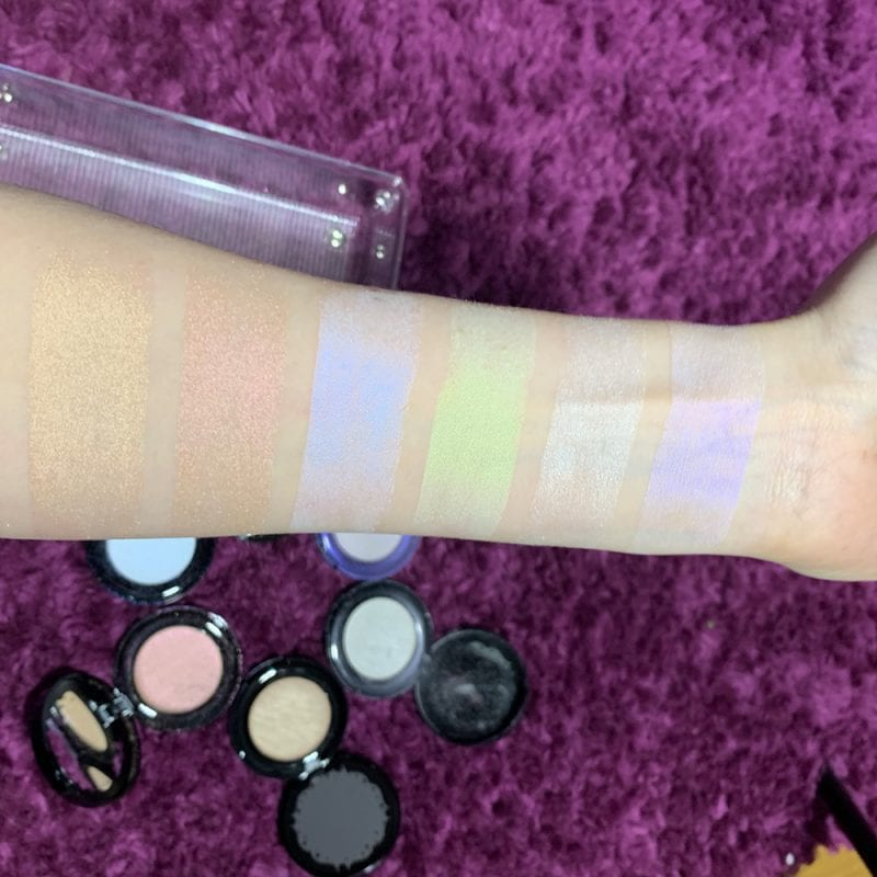 Best Gothic Highlighters swatched on fair skin