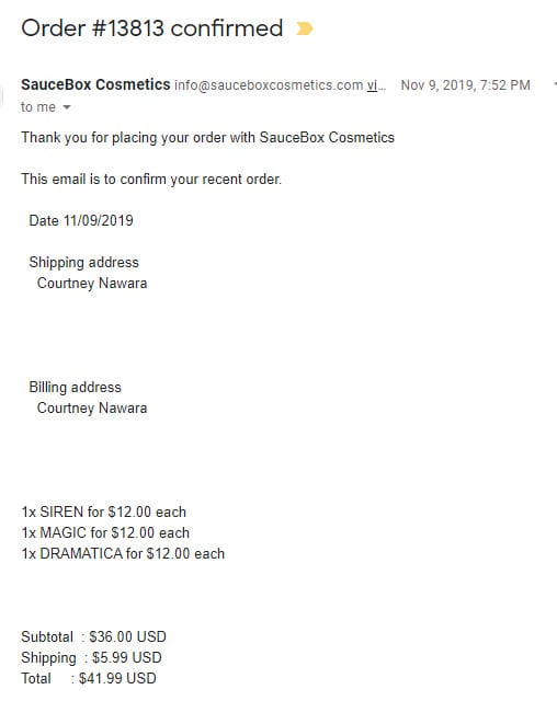 Outstanding Order from Saucebox
