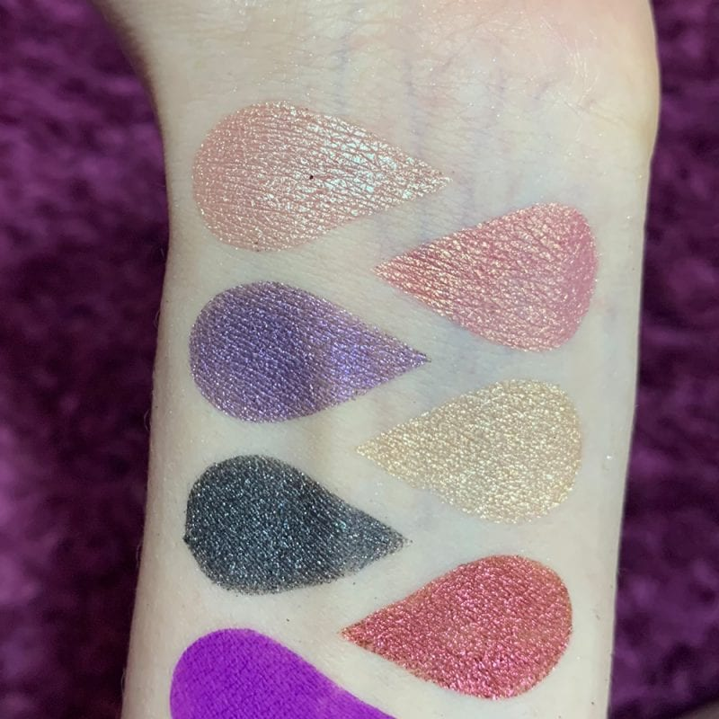 Tarte Chrome Paint Shadow Pots swatches on Pale Skin